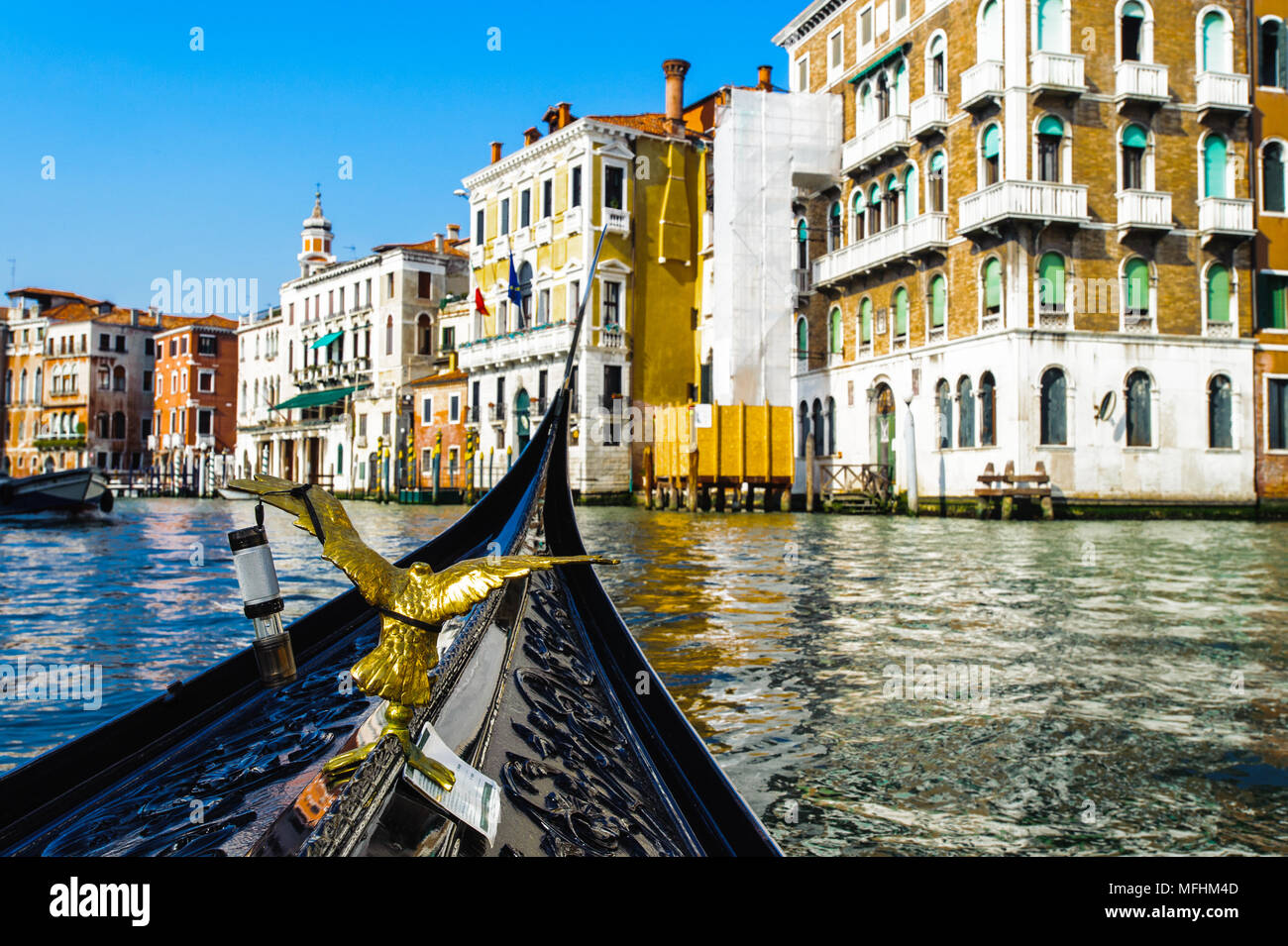 Gondola goes over the river - Stock Image