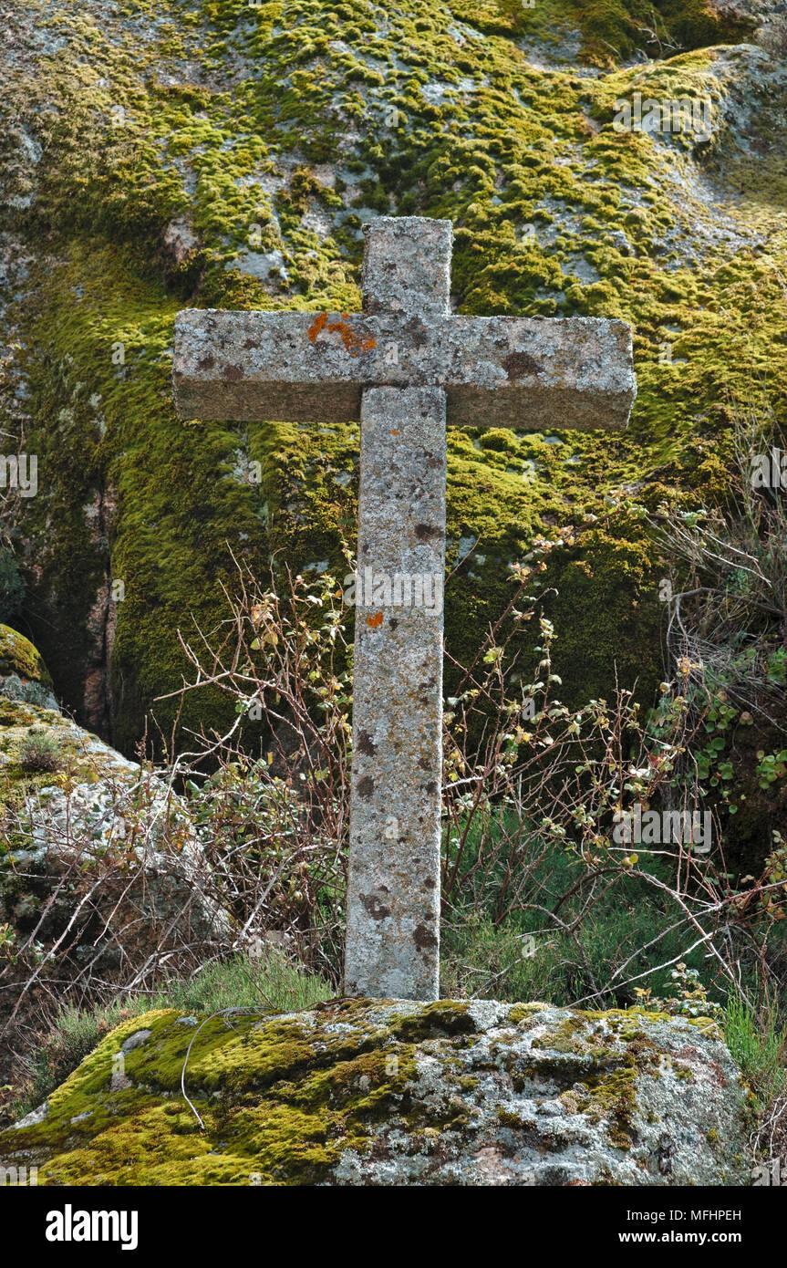 Antique stone cross in Monsanto. Portugal Stock Photo