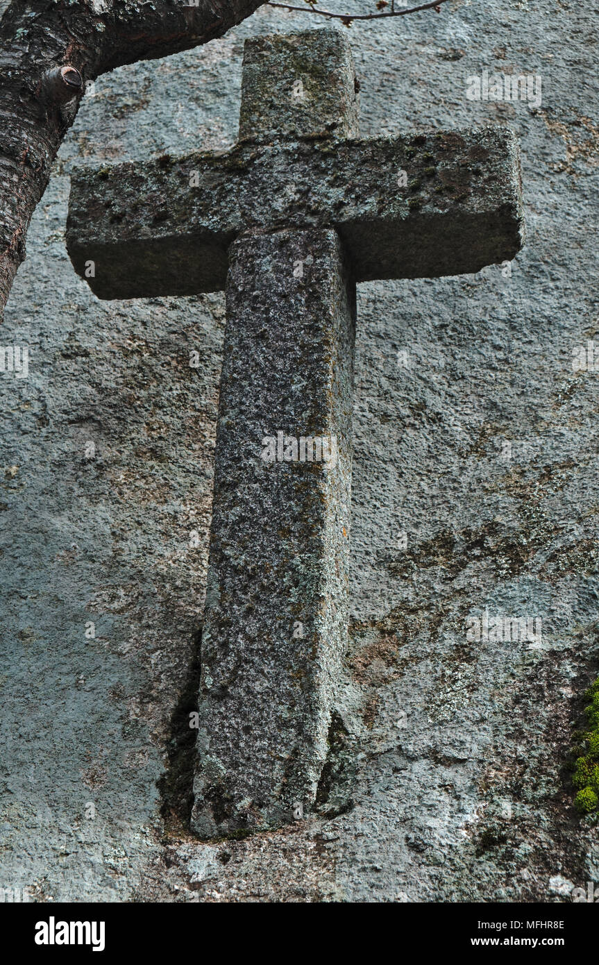 Antique stone cross in Monsanto. Portugal Stock Photo