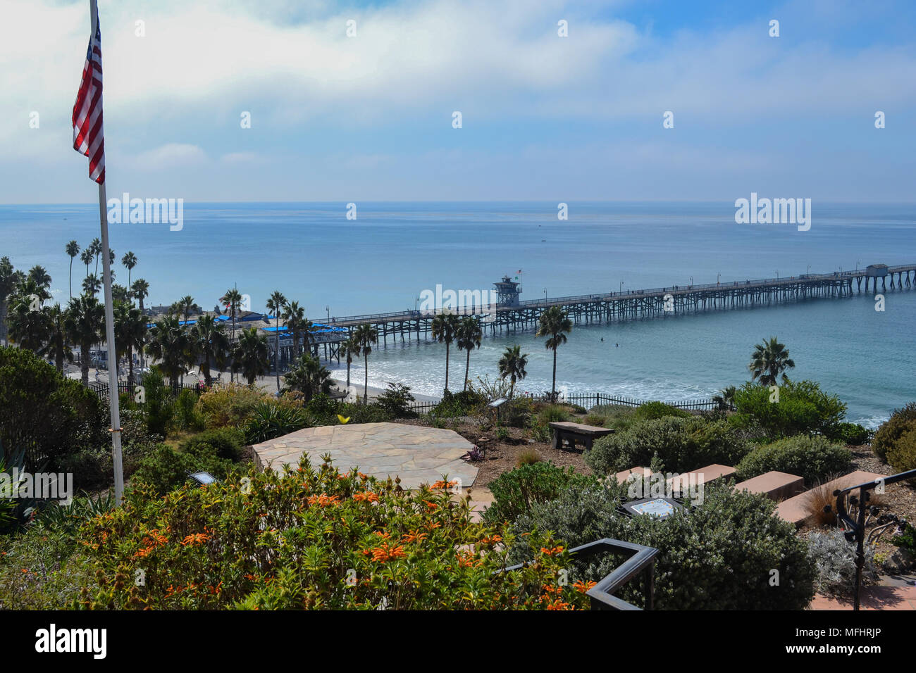 The San Clemente Pier in Southern California, Orange County as seen from Casa Romantica. Stock Photo
