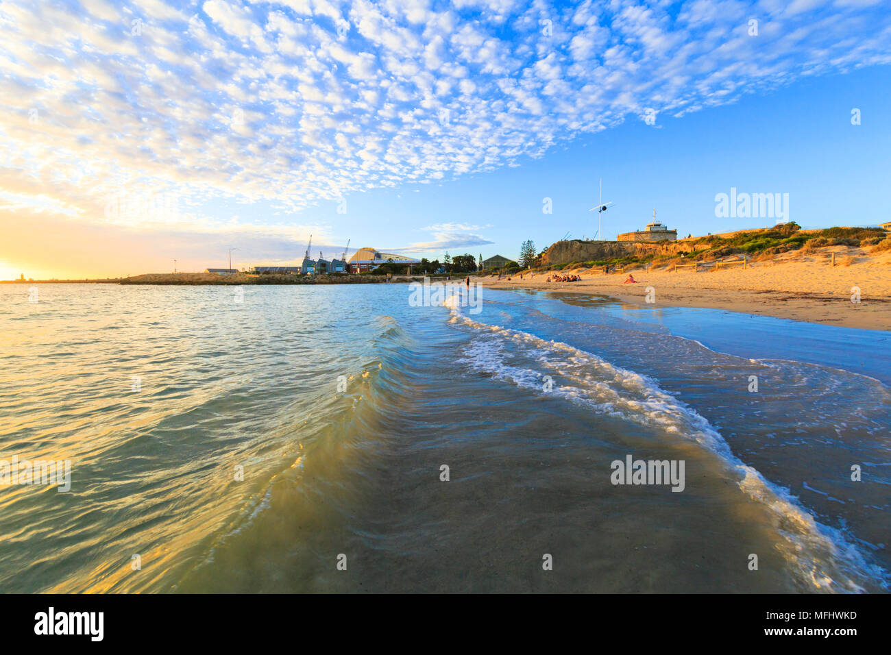 Bathers Beach, Fremantle. With the Roundhouse and WA Maritime Museum. - Stock Image