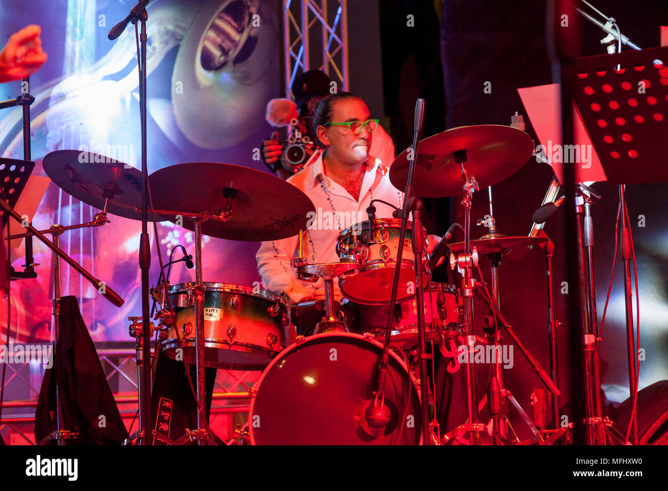 Drummer performing at the Dominican Republic Jazz Festival Stock Photo