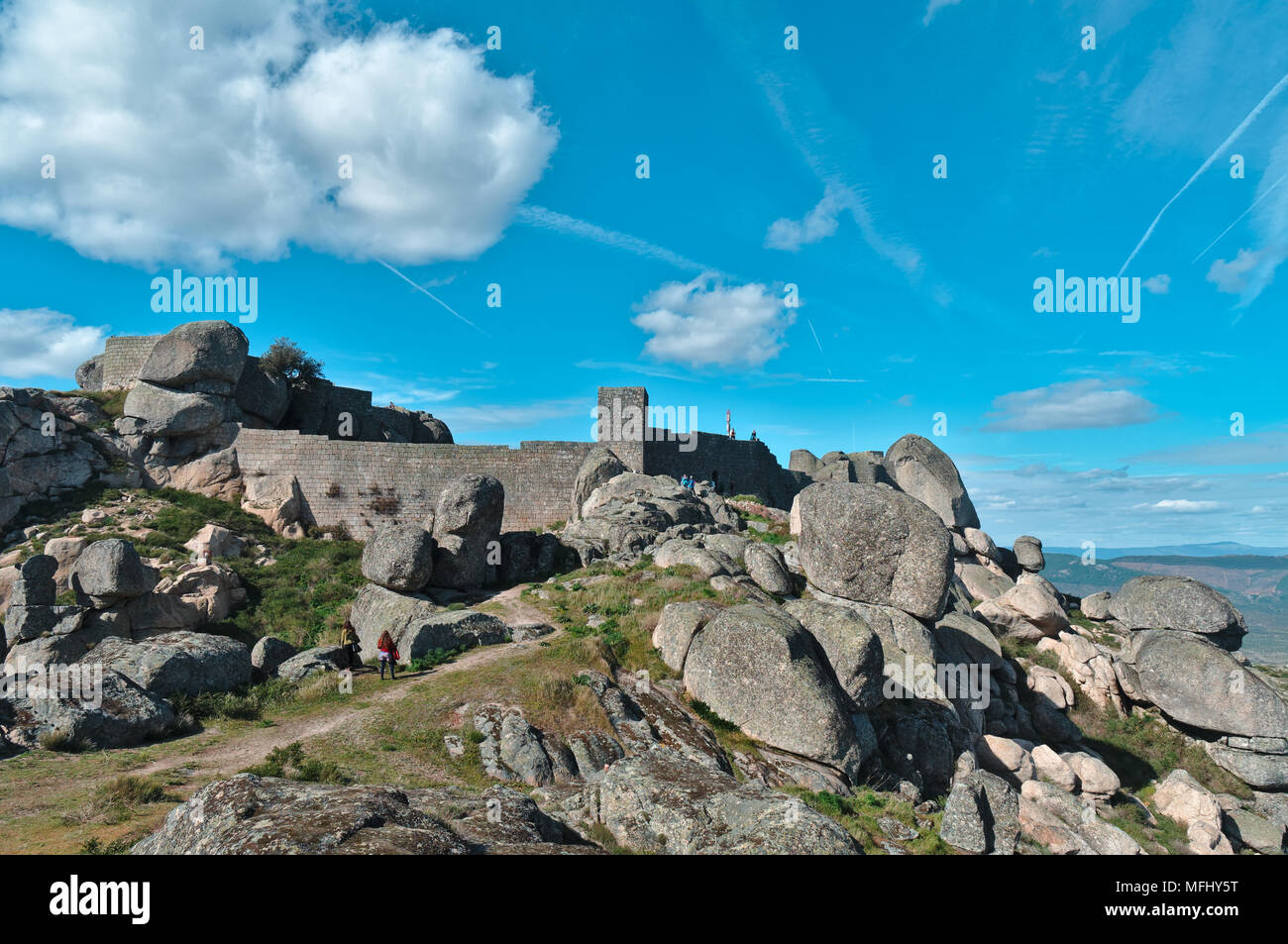 Monsanto Castle on Top of the hill. Castelo Branco, Portugal Stock Photo