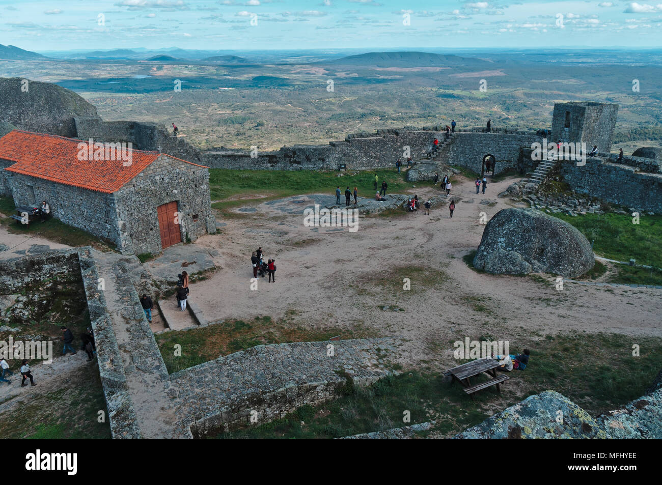 Tourists visiting the castle of Monsanto. Portugal Stock Photo