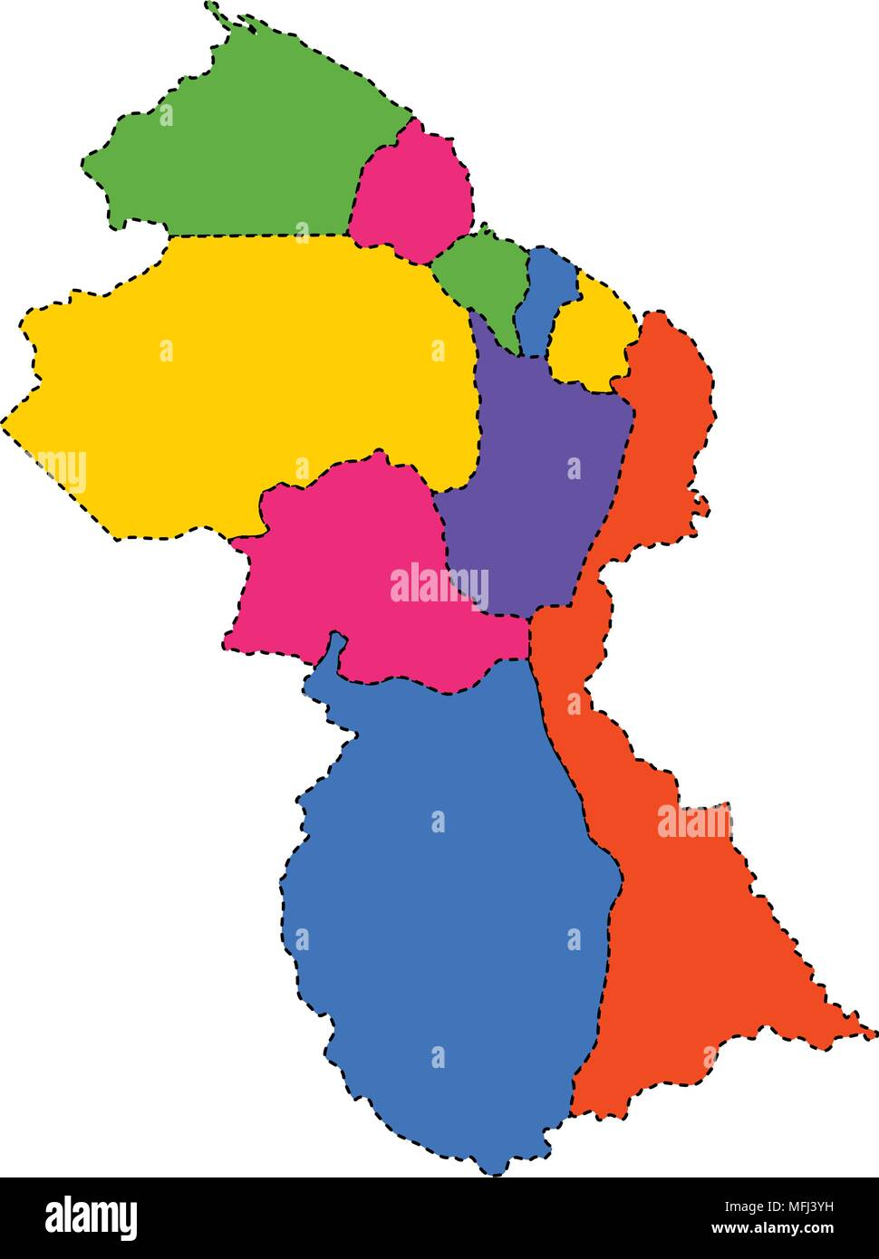 Political map of Guyana Stock Vector Art & Illustration, Vector ...