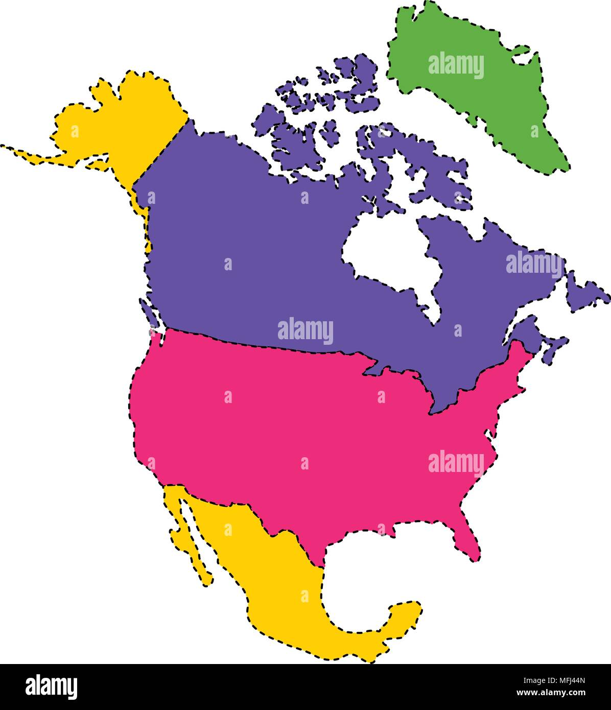 Political map of North America Stock Vector Art ...