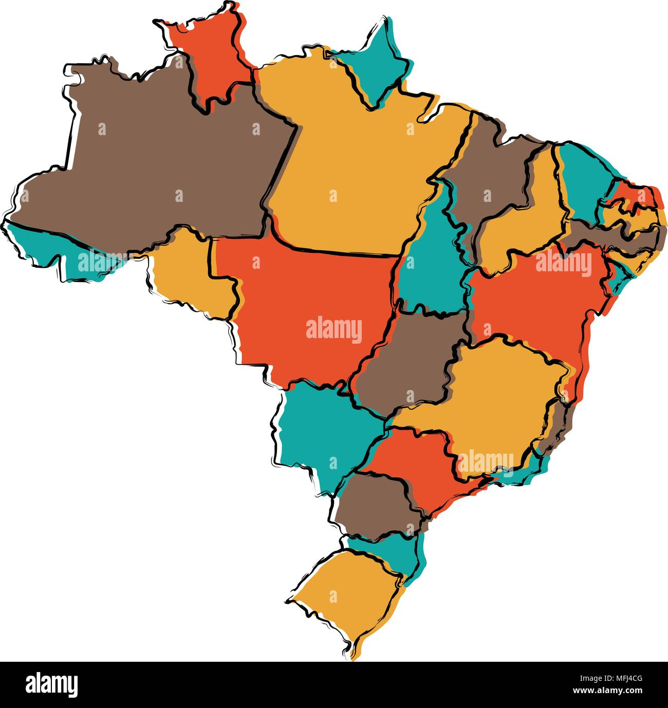 Political Map Of Brazil Stock Vector Art Illustration Vector