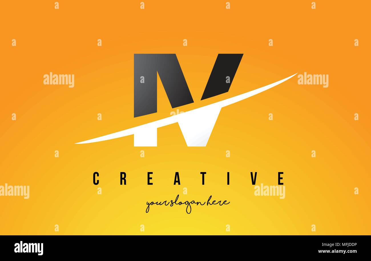 IV I V Letter Modern Logo Design with Swoosh Cutting the Middle Letters and Yellow Background. - Stock Vector