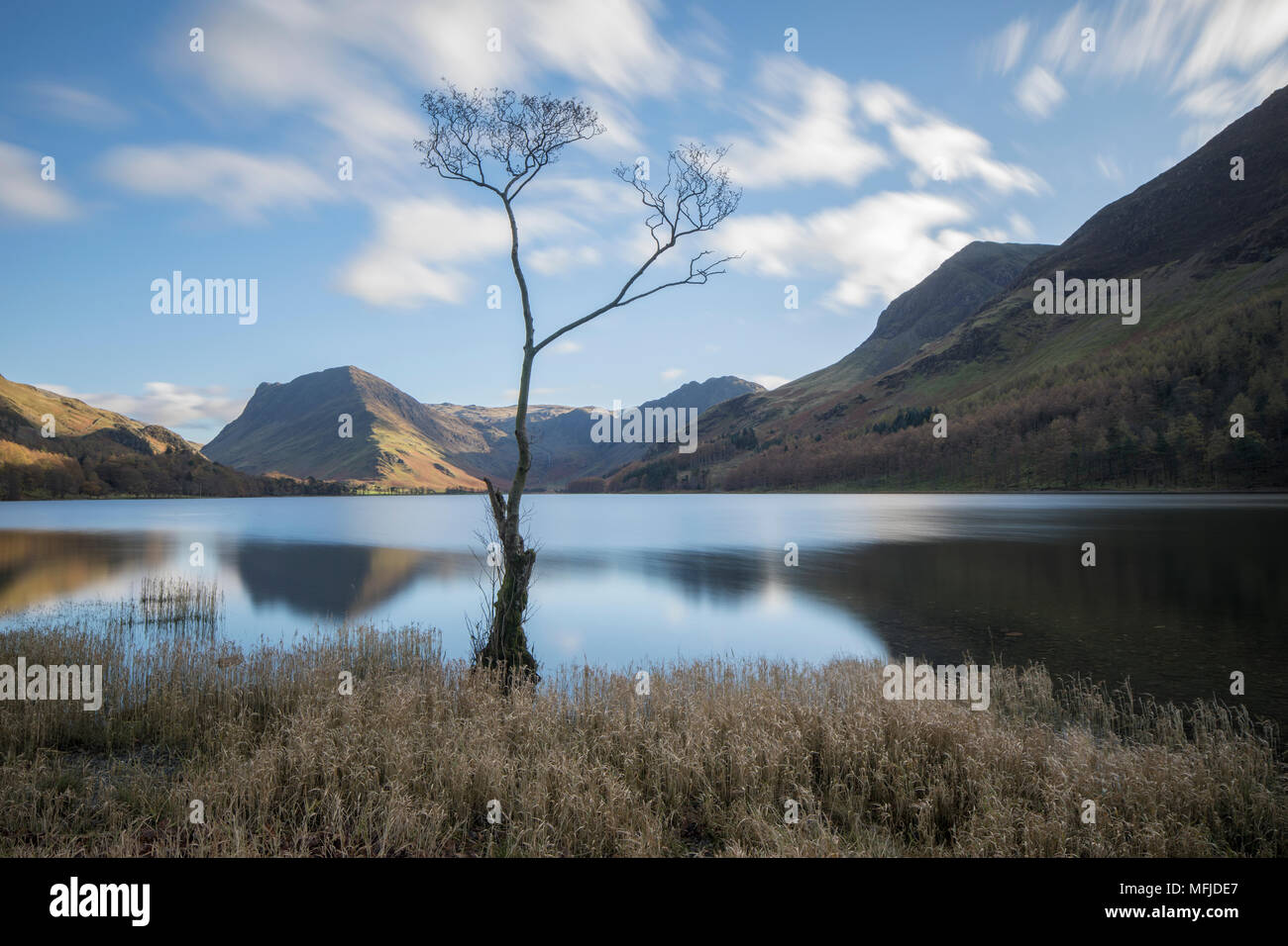 View over Buttermere to Fleetwith Pike in autumn, Lake District National Park, UNESCO World Heritage Site, Cumbria, England, United Kingdom, Europe - Stock Image
