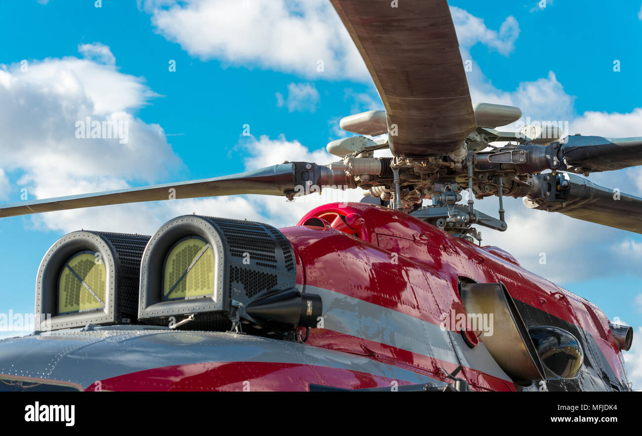 Military helicopter rotor blade detail close up - Stock Image