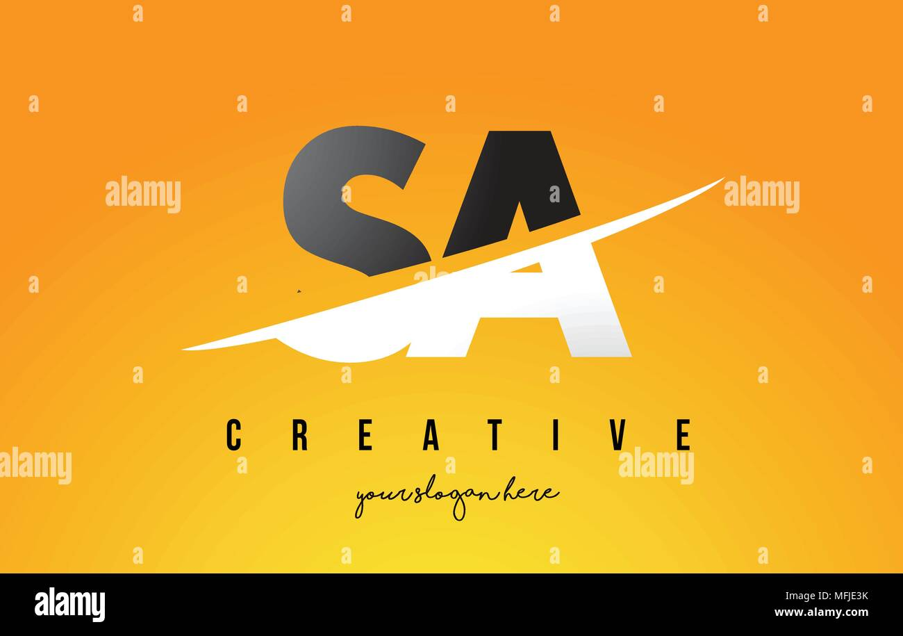 SA S A Letter Modern Logo Design with Swoosh Cutting the Middle Letters and Yellow Background. - Stock Vector