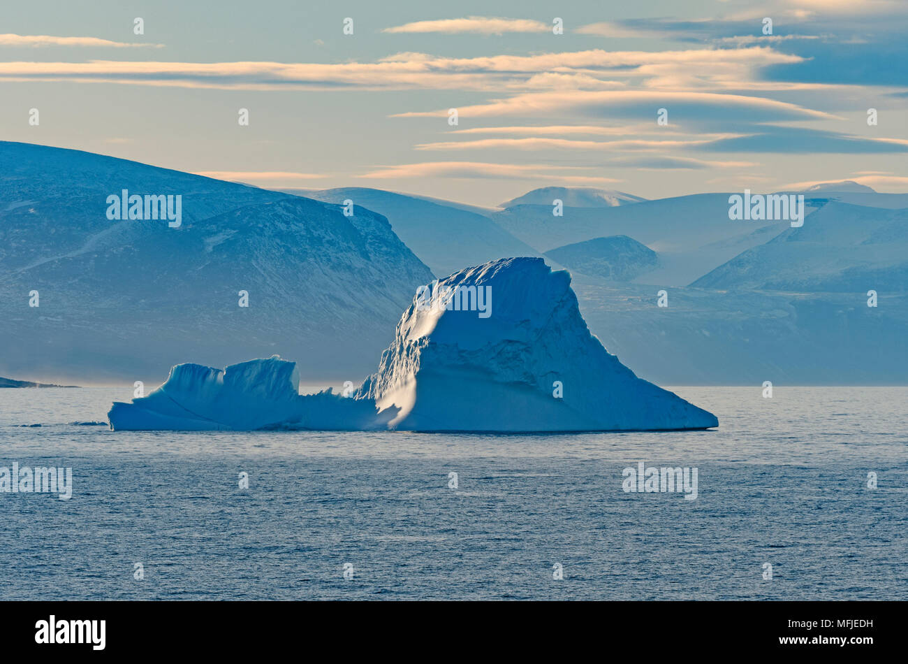 Ice, Fog, and Mountains in the High Arctic of  Isabella Bay of the  Ninginganiq National Wildlife Area on Baffin Island in Nunavut, Canada - Stock Image