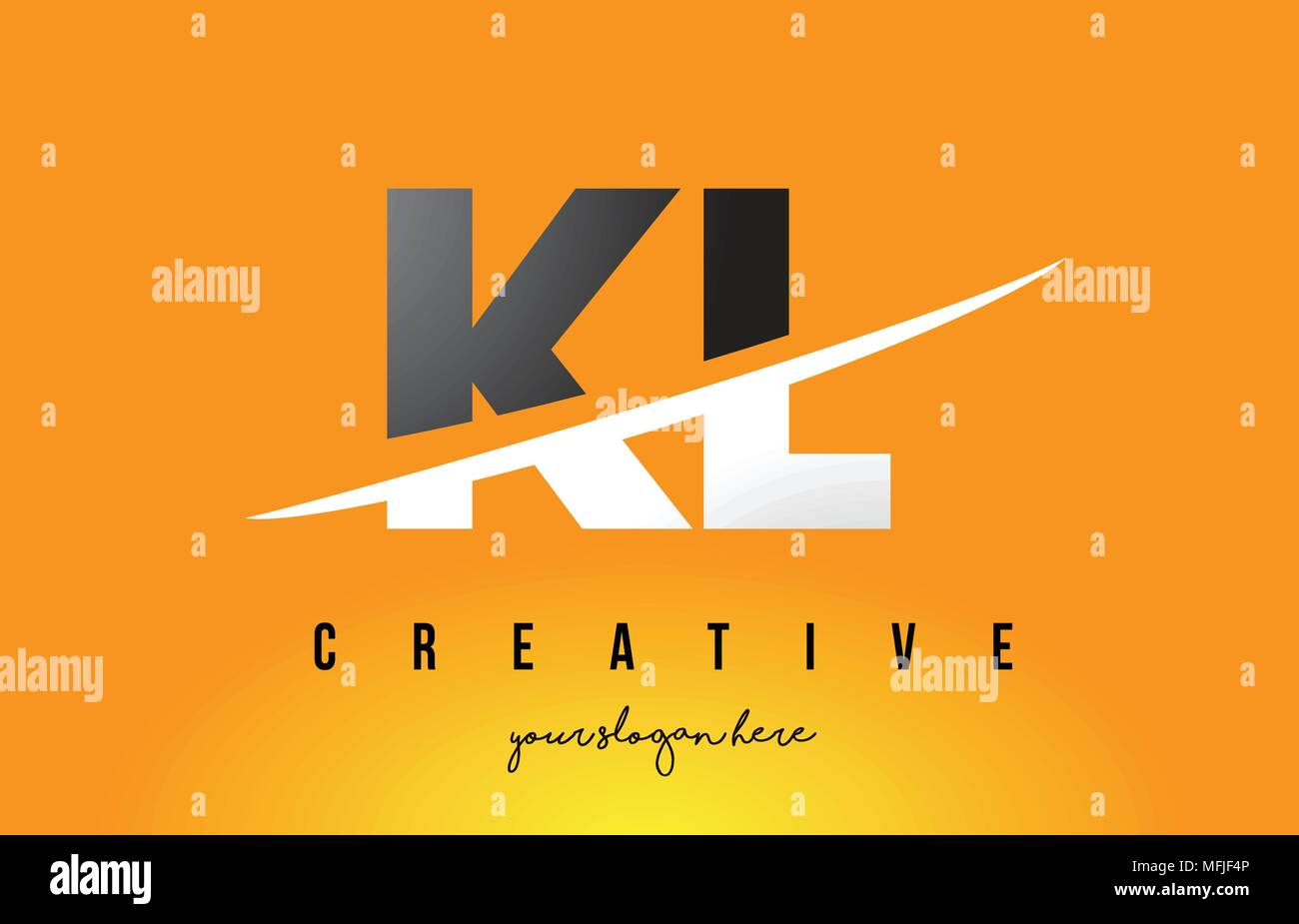 KL K L Letter Modern Logo Design with Swoosh Cutting the Middle Letters and Yellow Background. - Stock Vector