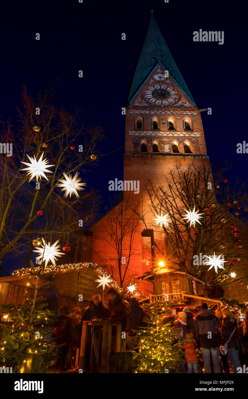Small Christmas market at St. John's Church in Luneburg, Lower Saxony, Germany, Europe Stock Photo