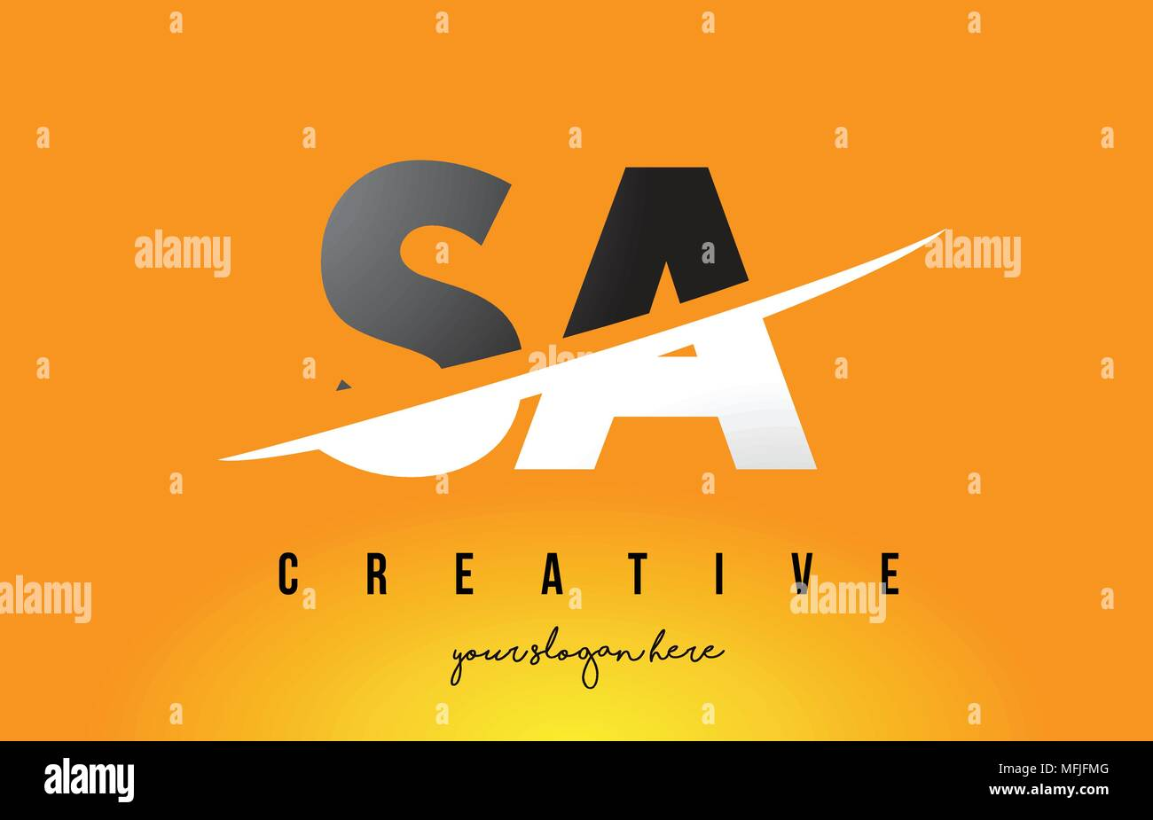 SA S A Letter Modern Logo Design with Swoosh Cutting the Middle Letters and Yellow Background. Stock Vector