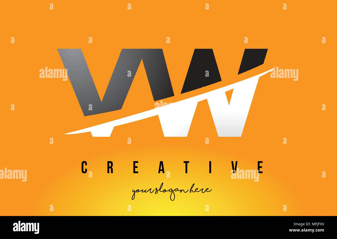 VW V W Letter Modern Logo Design with Swoosh Cutting the Middle Letters and Yellow Background. - Stock Vector