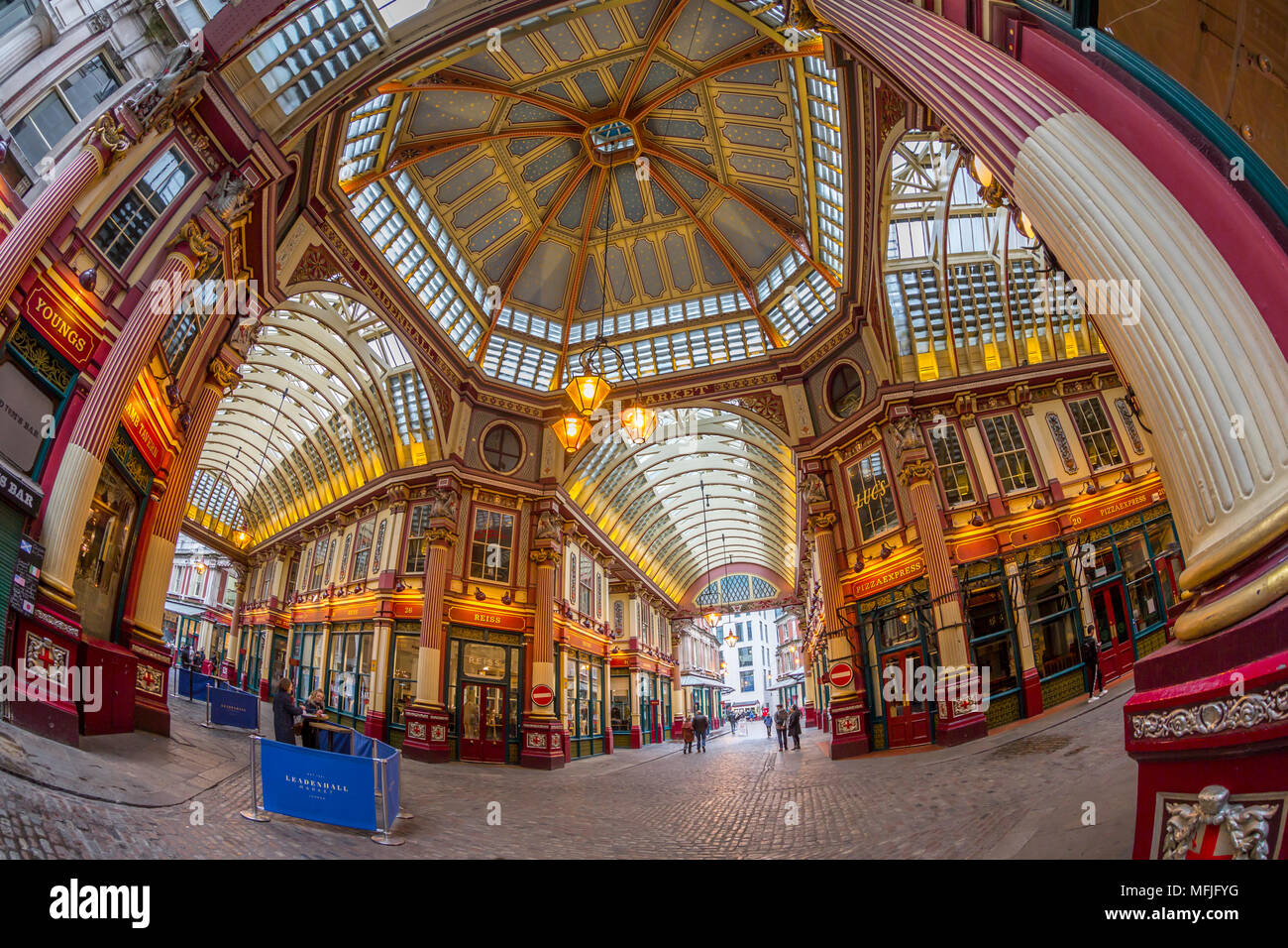 Fisheye view of interior of Leadenhall Market, The City, London, England, United Kingdom, Europe - Stock Image