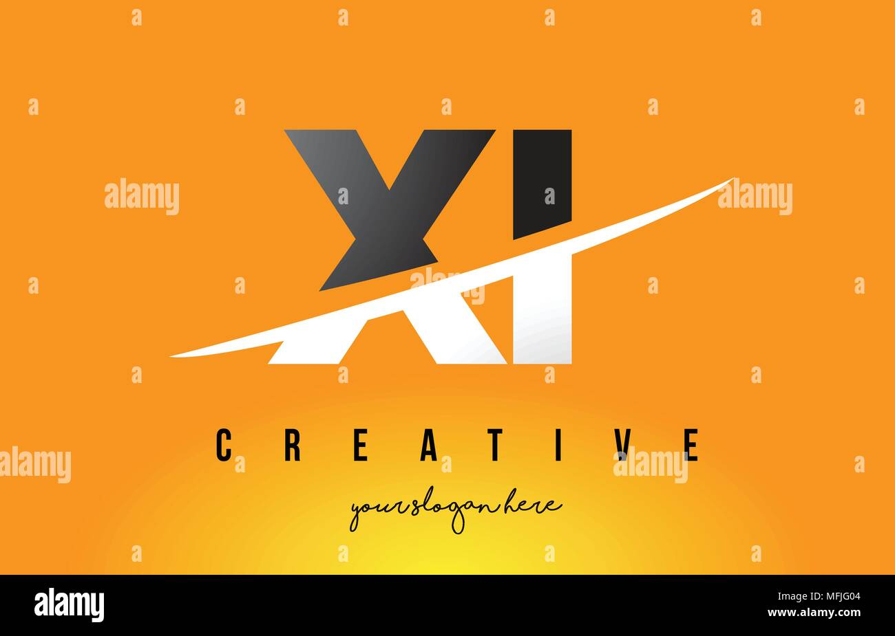 XI X I Letter Modern Logo Design with Swoosh Cutting the Middle Letters and Yellow Background. - Stock Vector