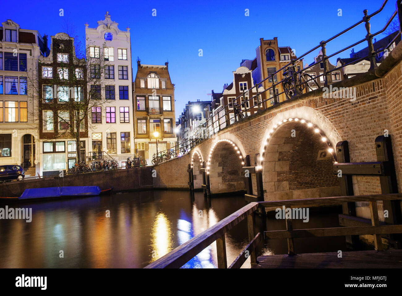 View of tall 18th century buildings on a canal in Amsterdam, Holland, Netherlands, Europe Stock Photo