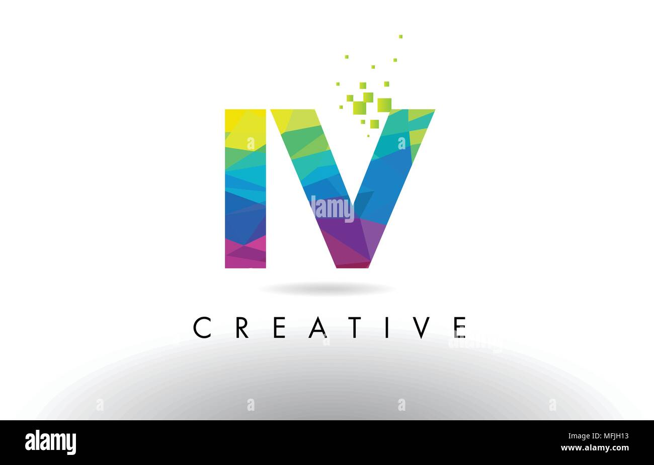 IV I V Colorful Letter Design with Creative Origami Triangles Rainbow Vector. - Stock Vector