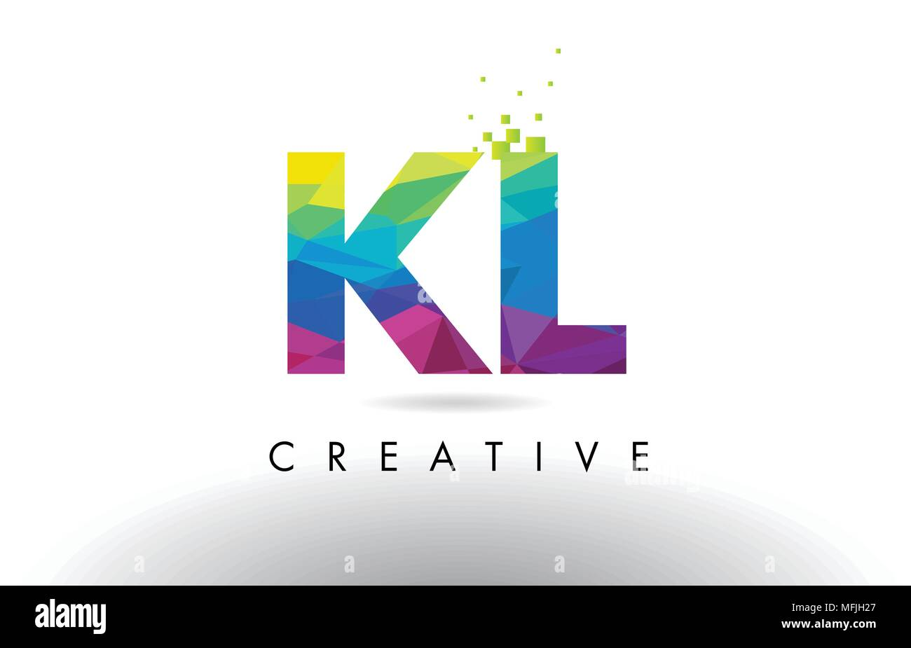 KL K L Colorful Letter Design with Creative Origami Triangles Rainbow Vector. - Stock Vector