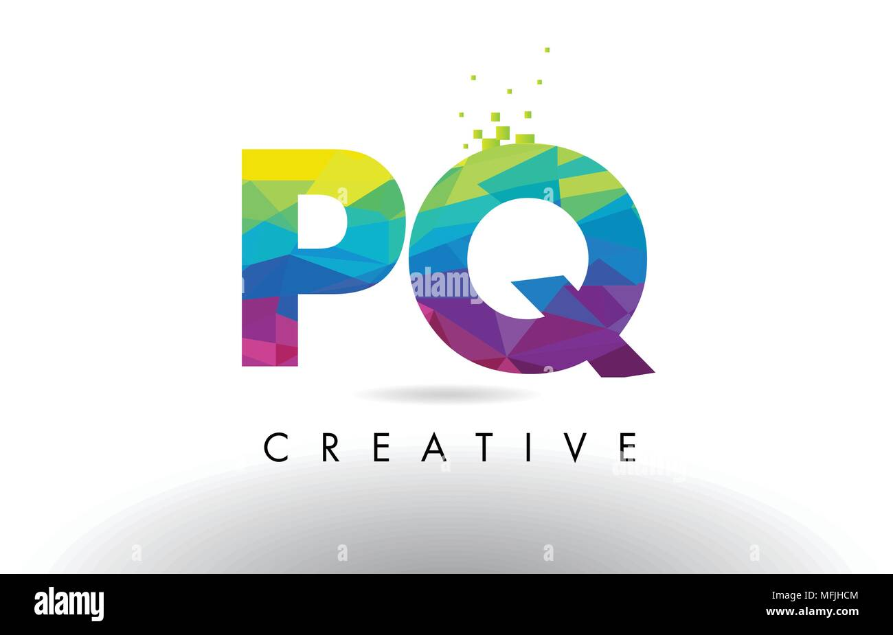 PQ P Q Colorful Letter Design with Creative Origami Triangles Rainbow Vector. - Stock Image