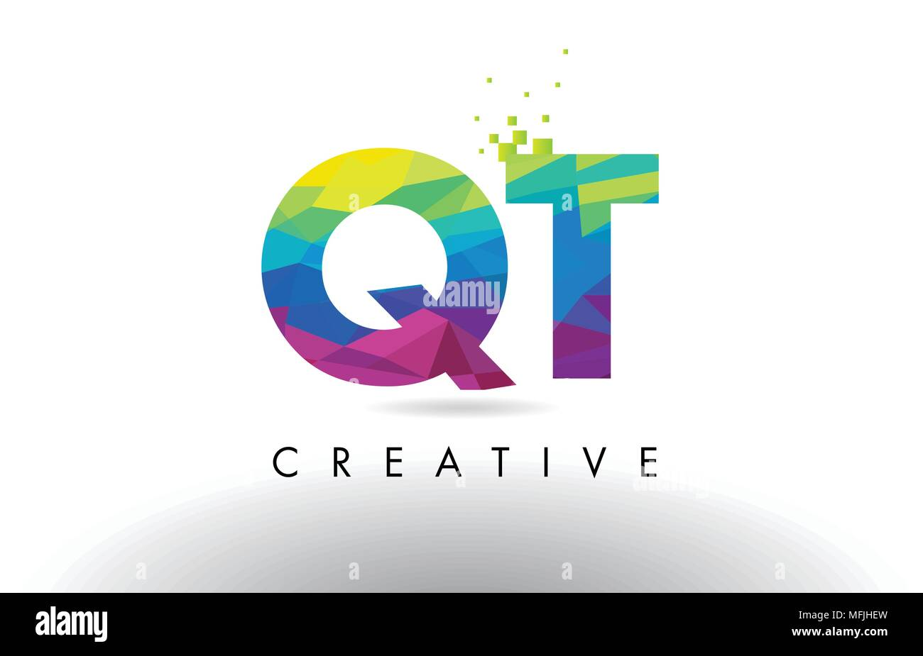 QT Q T Colorful Letter Design with Creative Origami Triangles Rainbow Vector. - Stock Image