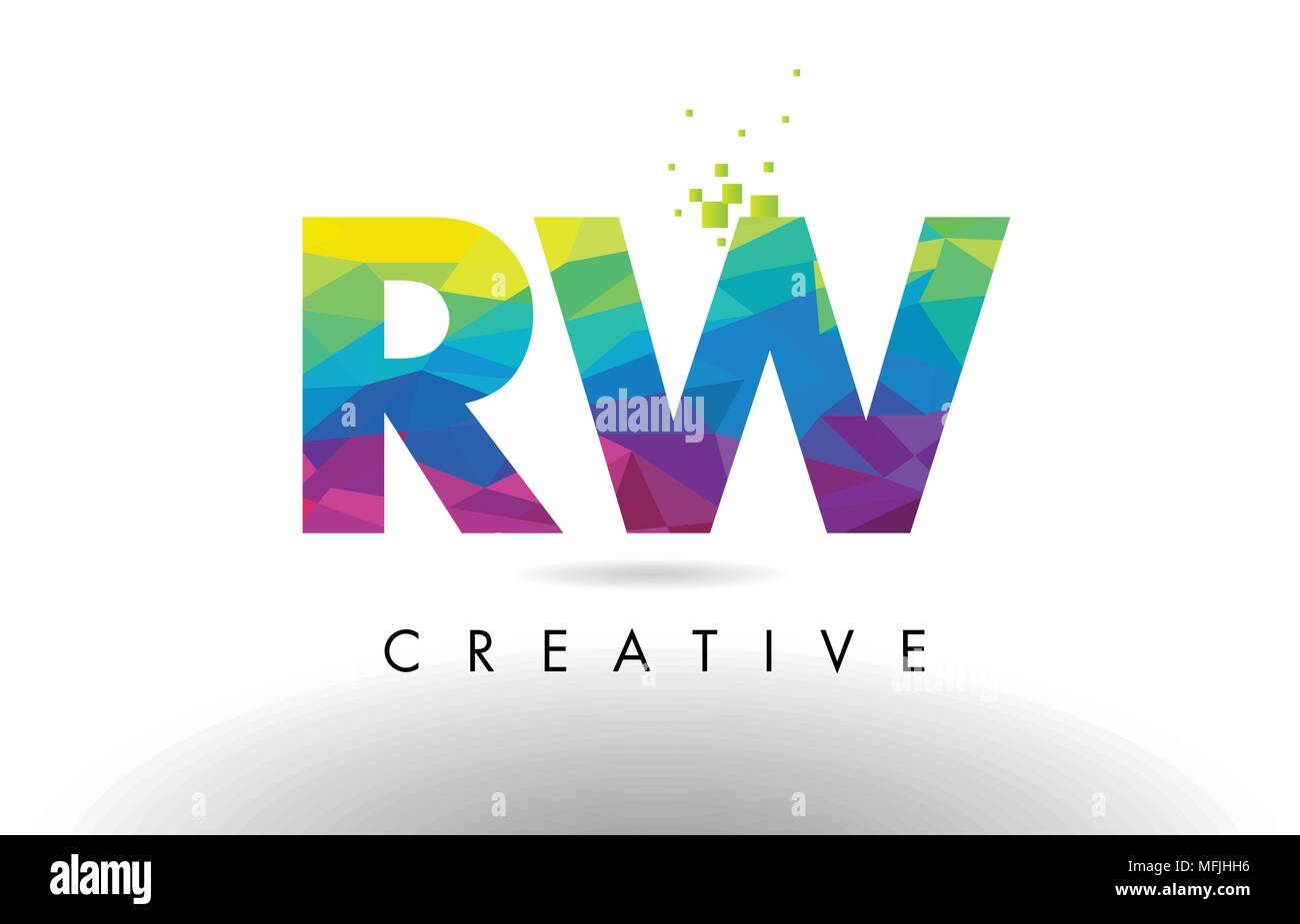 RW R W Colorful Letter Design with Creative Origami Triangles Rainbow Vector. - Stock Image