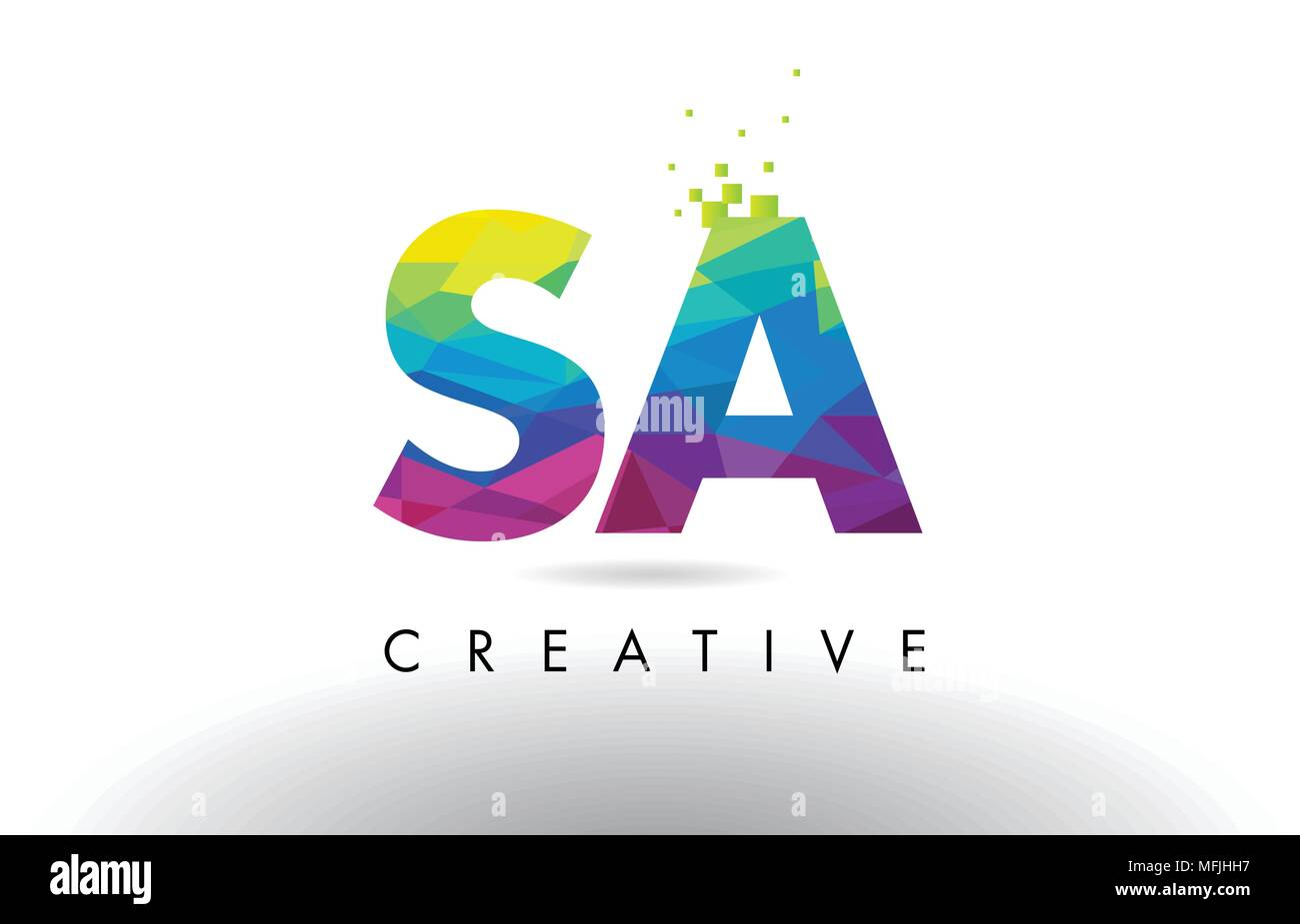 SA S A Colorful Letter Design with Creative Origami Triangles Rainbow Vector. - Stock Vector
