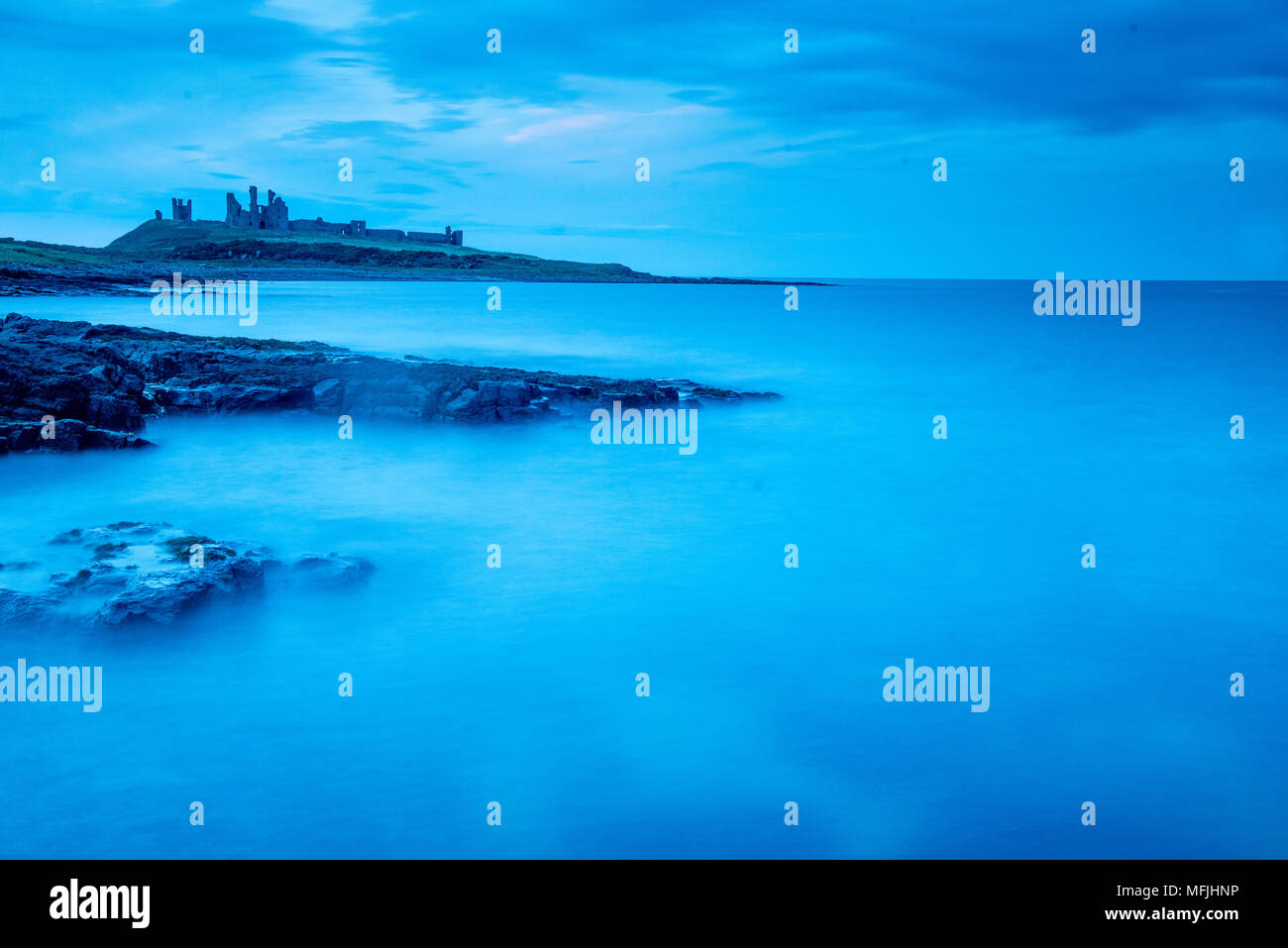 Dunstanburgh Castle, Northumberland, England, United Kingdom, Europe - Stock Image