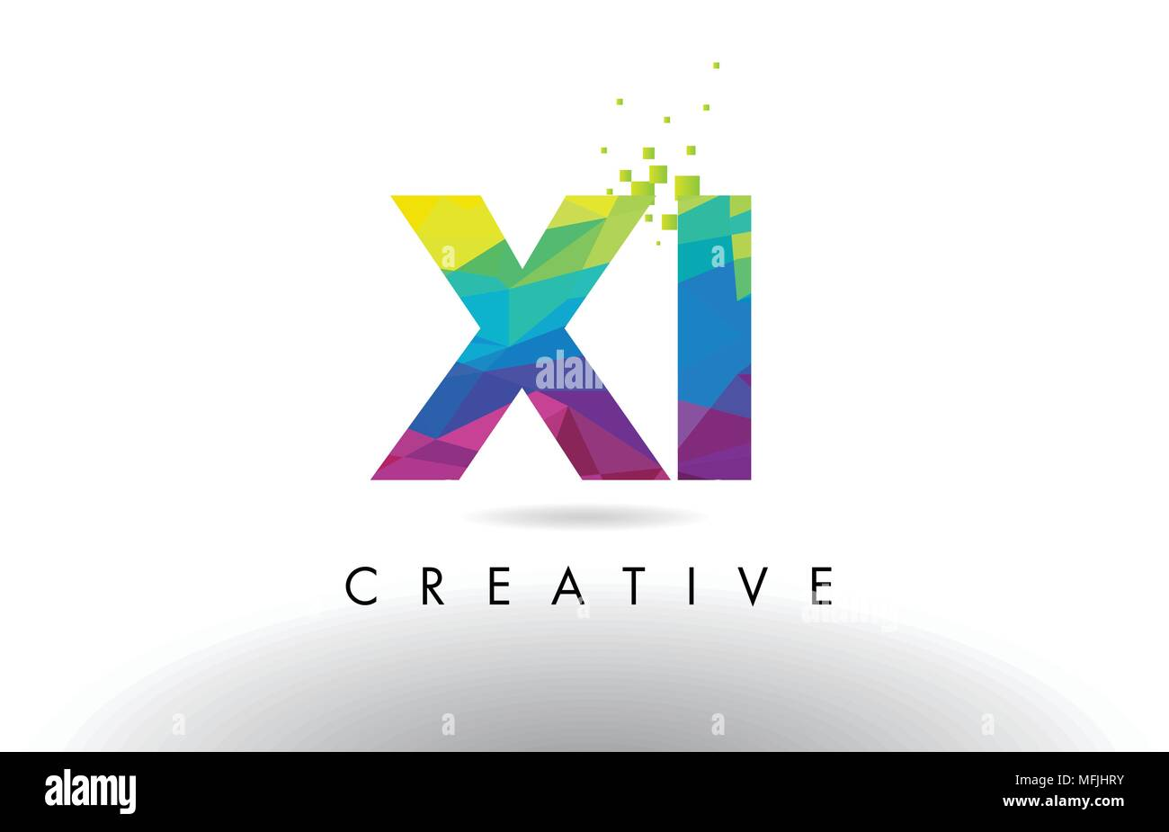 XI X I Colorful Letter Design with Creative Origami Triangles Rainbow Vector. - Stock Vector