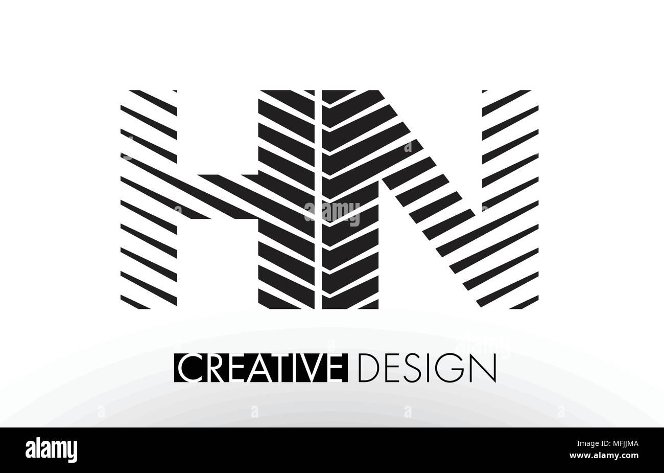 HN H N Lines Letter Design with Creative Elegant Zebra Vector Illustration. Stock Vector