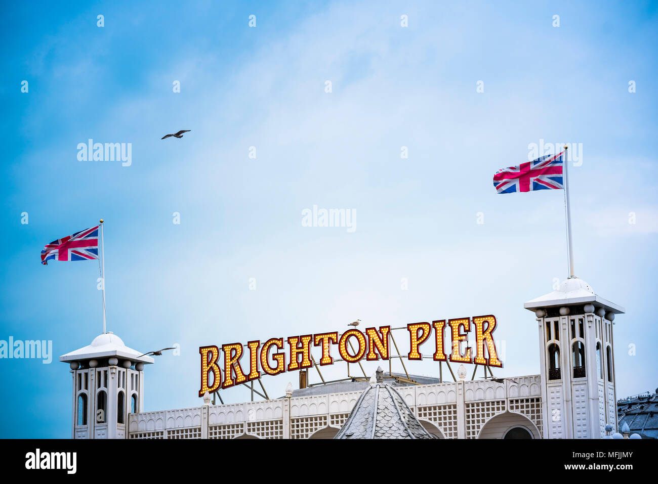 Brighton Palace Pier, Brighton and Hove, East Sussex, England, United Kingdom, Europe - Stock Image