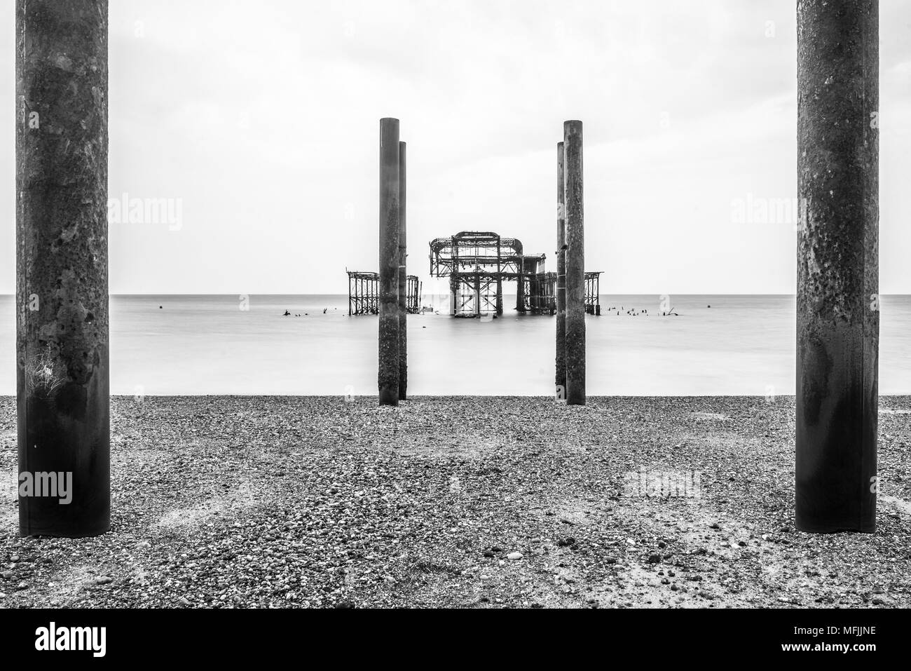 Brighton Pier, Brighton and Hove, East Sussex, England, United Kingdom, Europe - Stock Image