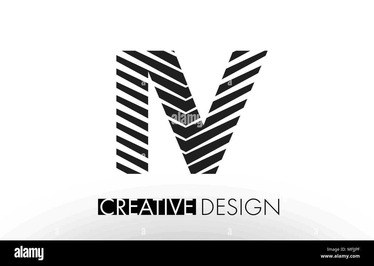 IV I V Lines Letter Design with Creative Elegant Zebra Vector Illustration. - Stock Vector