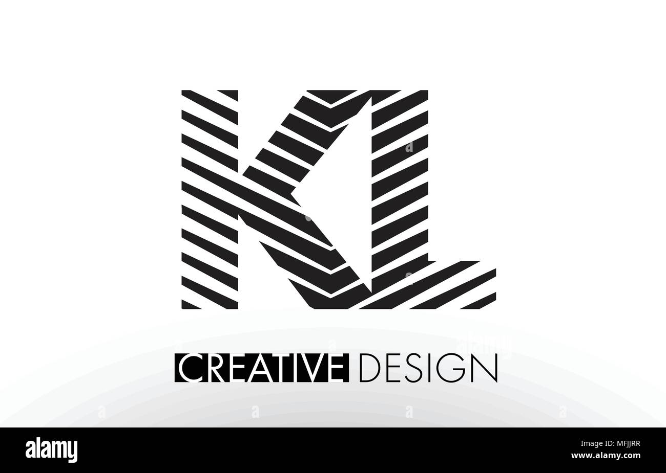 KL K L Lines Letter Design with Creative Elegant Zebra Vector Illustration. - Stock Vector