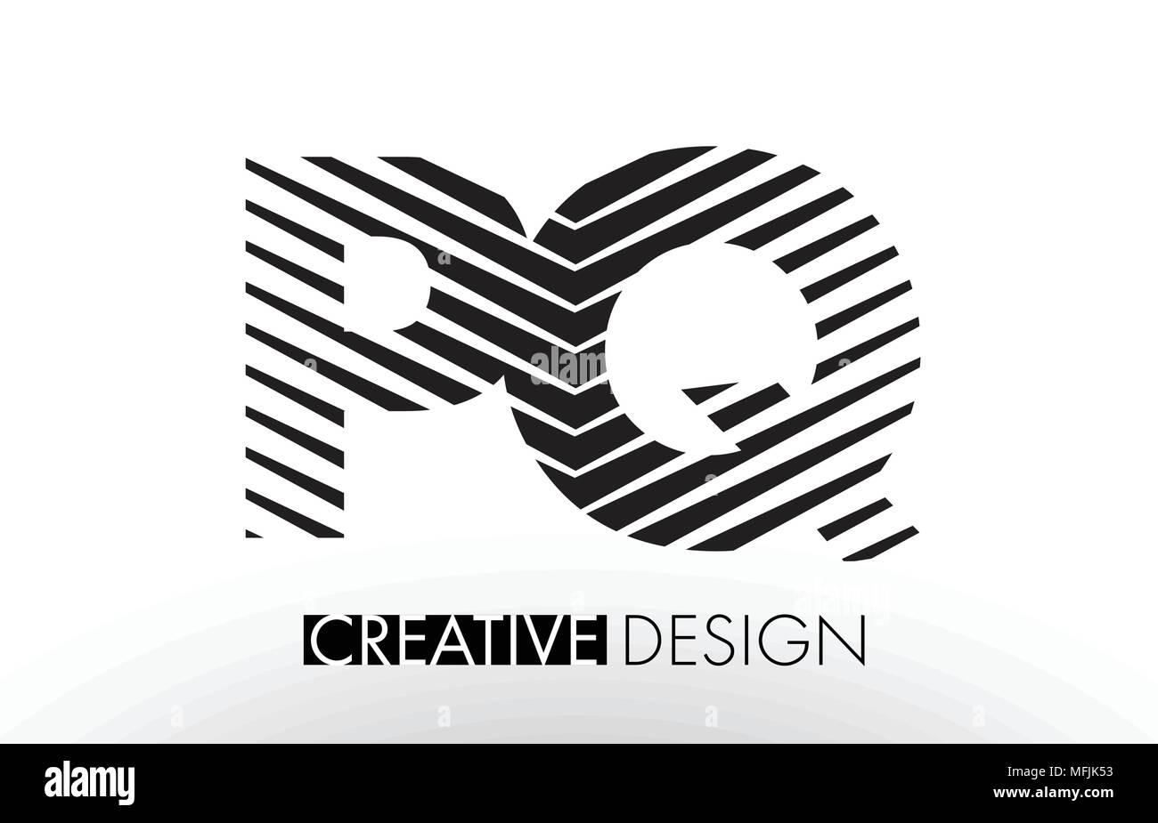 PQ P Q Lines Letter Design with Creative Elegant Zebra Vector Illustration. - Stock Image