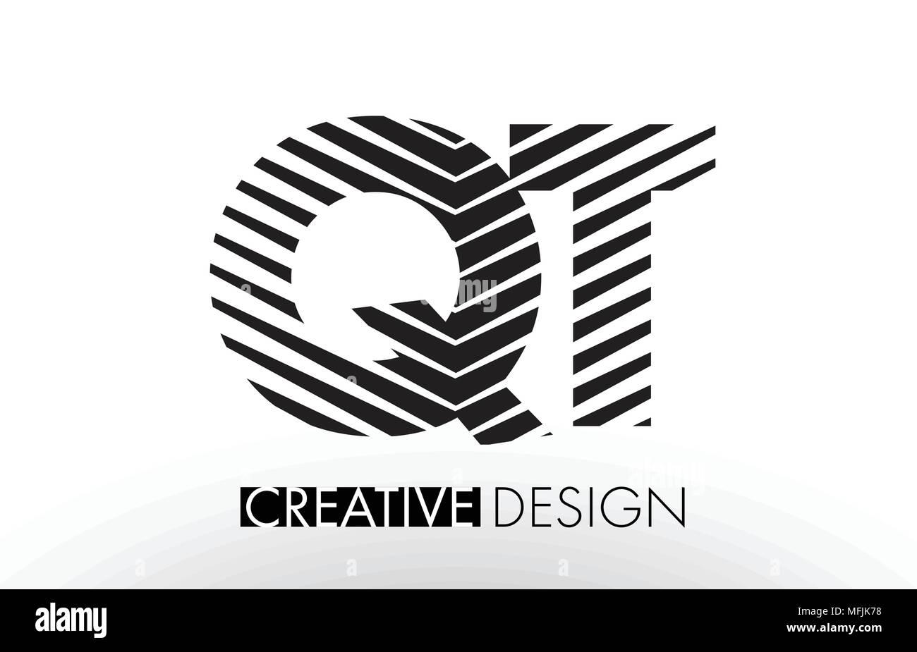 QT Q T Lines Letter Design with Creative Elegant Zebra Vector Illustration. - Stock Image