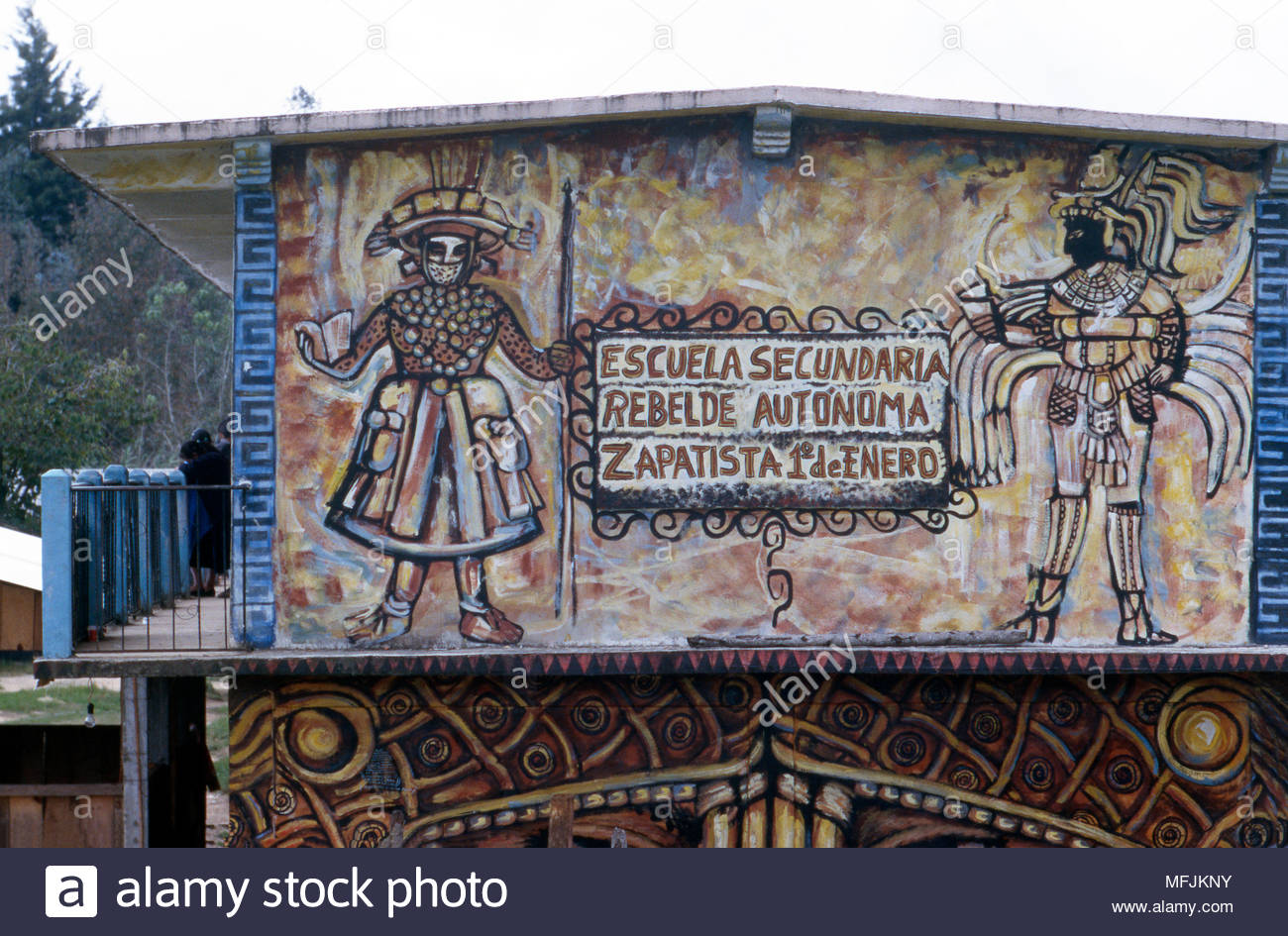 A school in Oventic, Chiapas State, Mexico, is operated independently of the government by the Zapatistas. - Stock Image