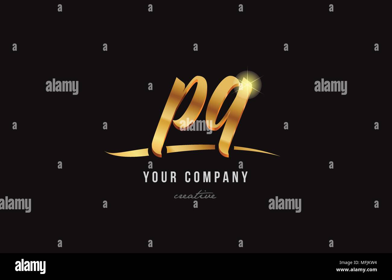 gold golden alphabet letter pq p q logo combination design suitable for a company or business - Stock Image
