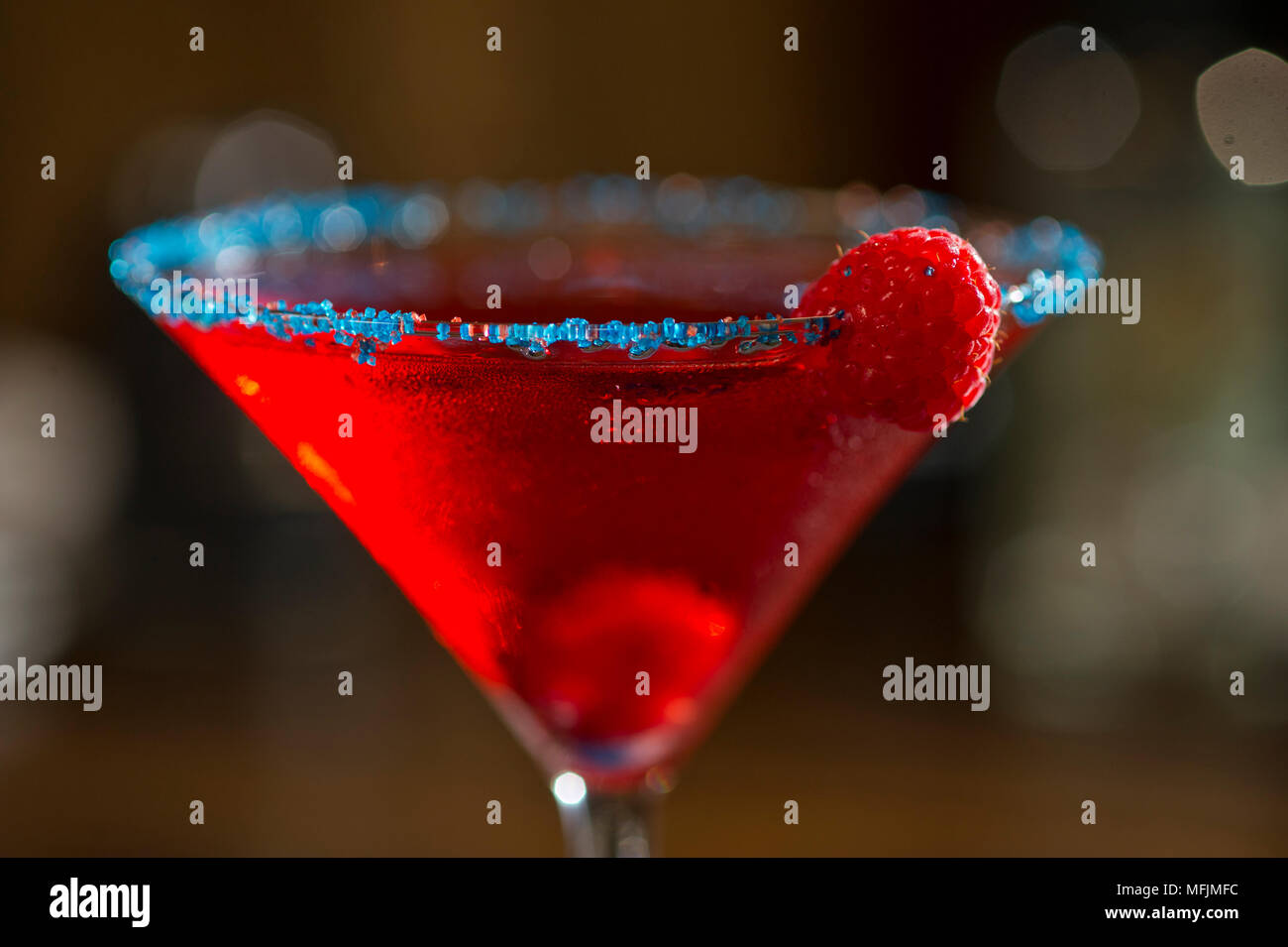 A Cosmopolitan cocktail at a restaurant. Stock Photo