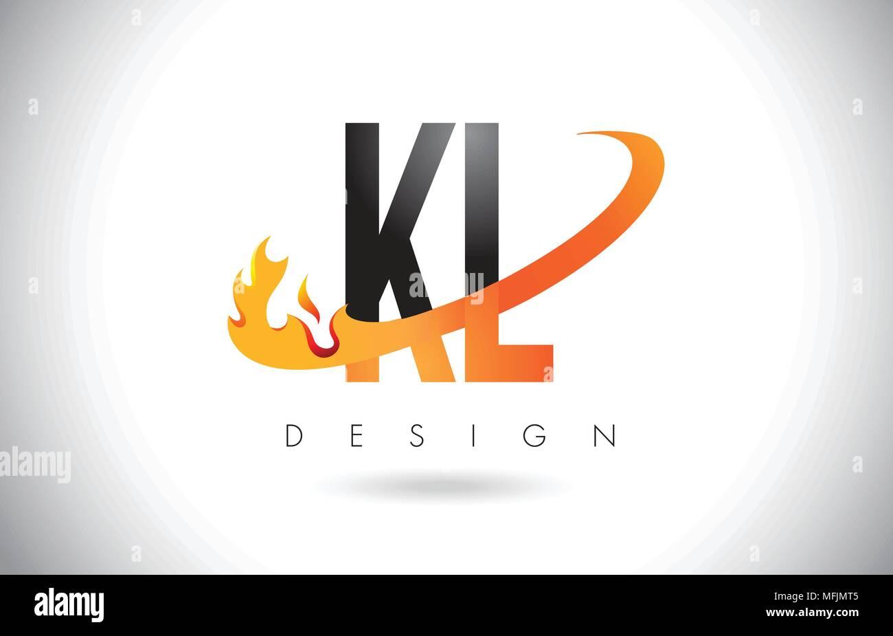 KL K L Letter Logo Design with Fire Flames and Orange Swoosh Vector Illustration. - Stock Vector