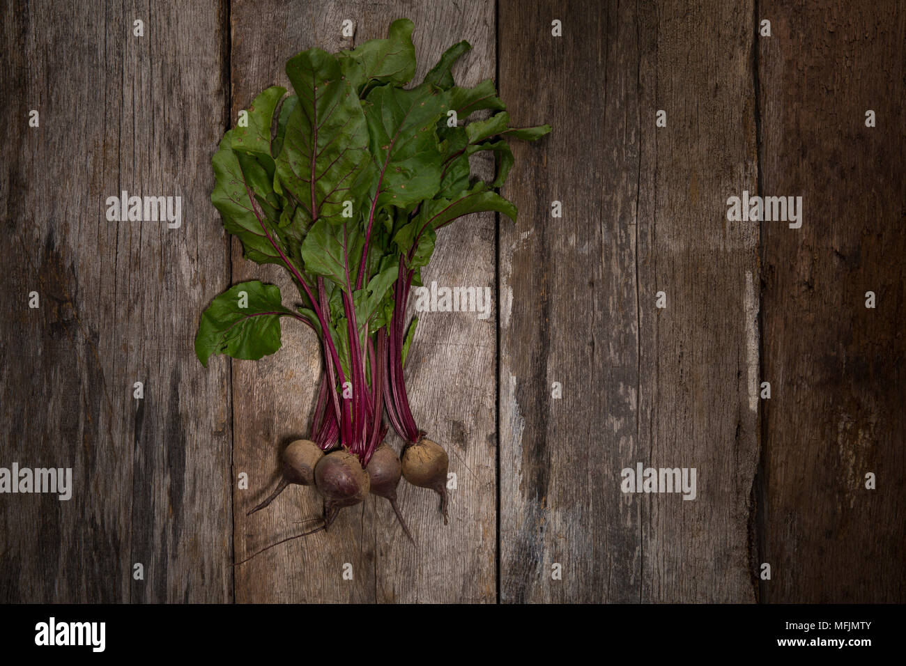 Still life photography taken in studio of beets on a rustic, wooden background.  Photo by Beth Hall - Stock Image