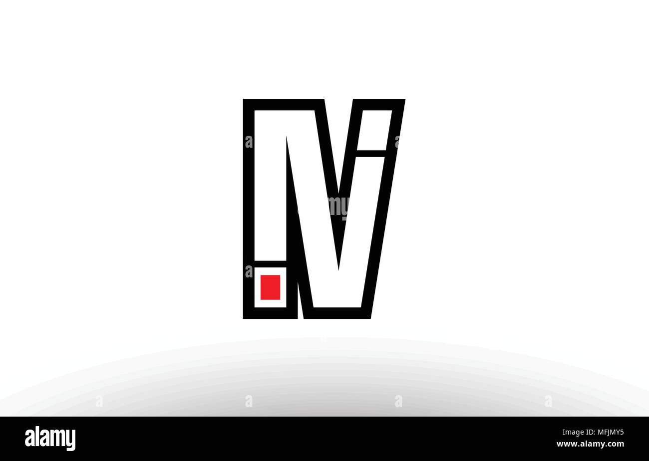 black and white alphabet letter iv i v logo combination design suitable for a company or business - Stock Vector