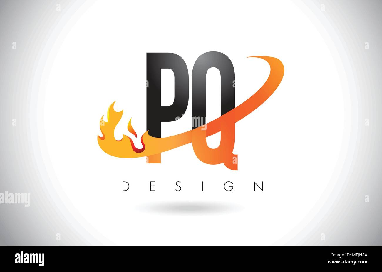PQ P Q Letter Logo Design with Fire Flames and Orange Swoosh Vector Illustration. - Stock Image