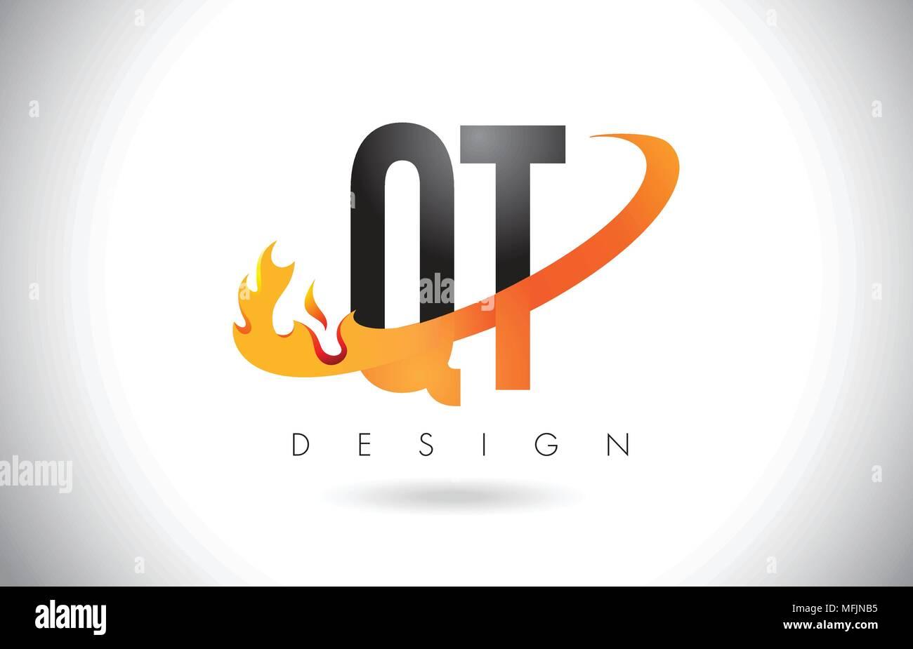 QT Q T Letter Logo Design with Fire Flames and Orange Swoosh Vector Illustration. - Stock Image