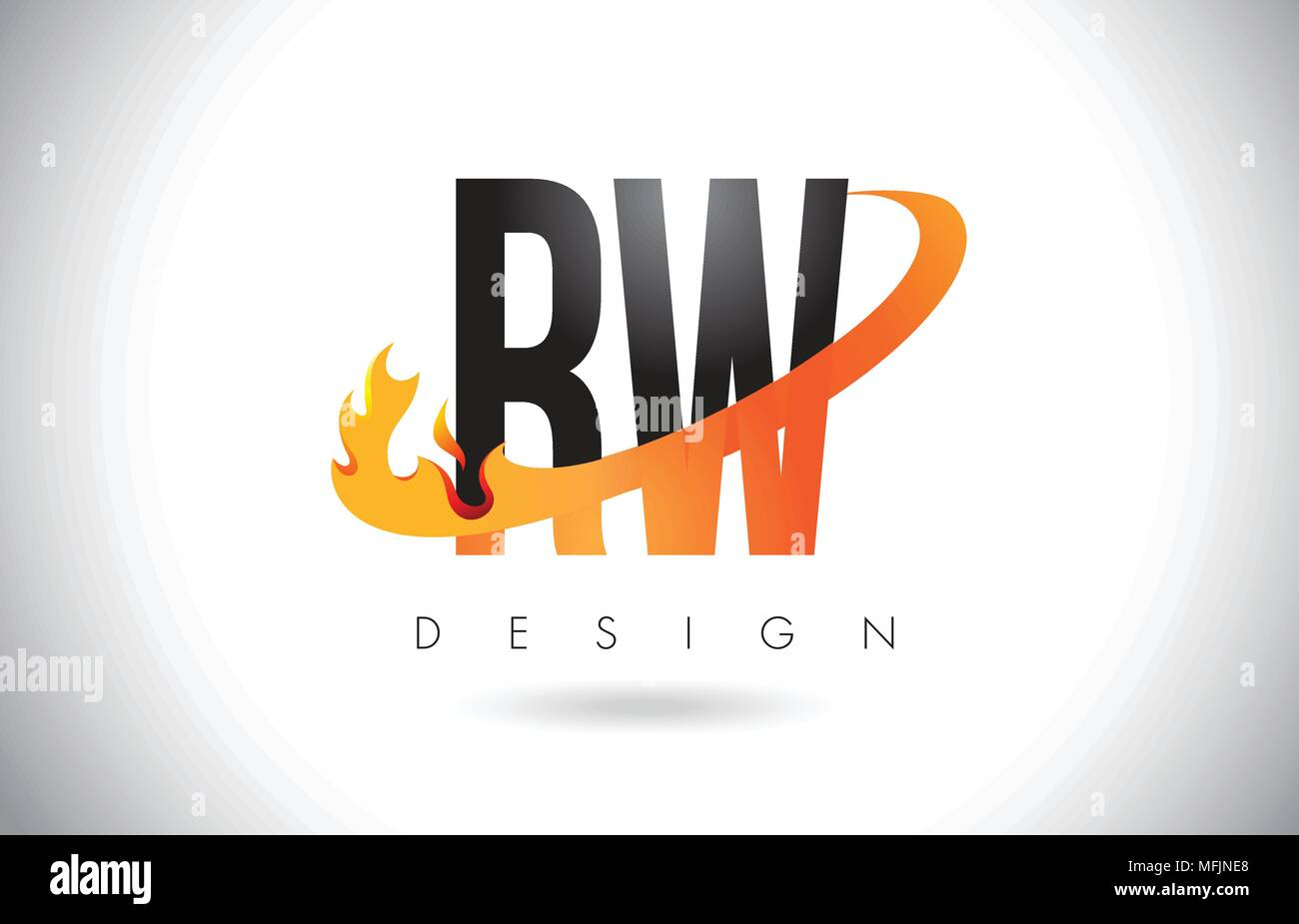 RW R W Letter Logo Design with Fire Flames and Orange Swoosh Vector Illustration. - Stock Image