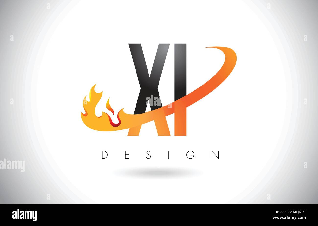 XI X I Letter Logo Design with Fire Flames and Orange Swoosh Vector Illustration. - Stock Vector