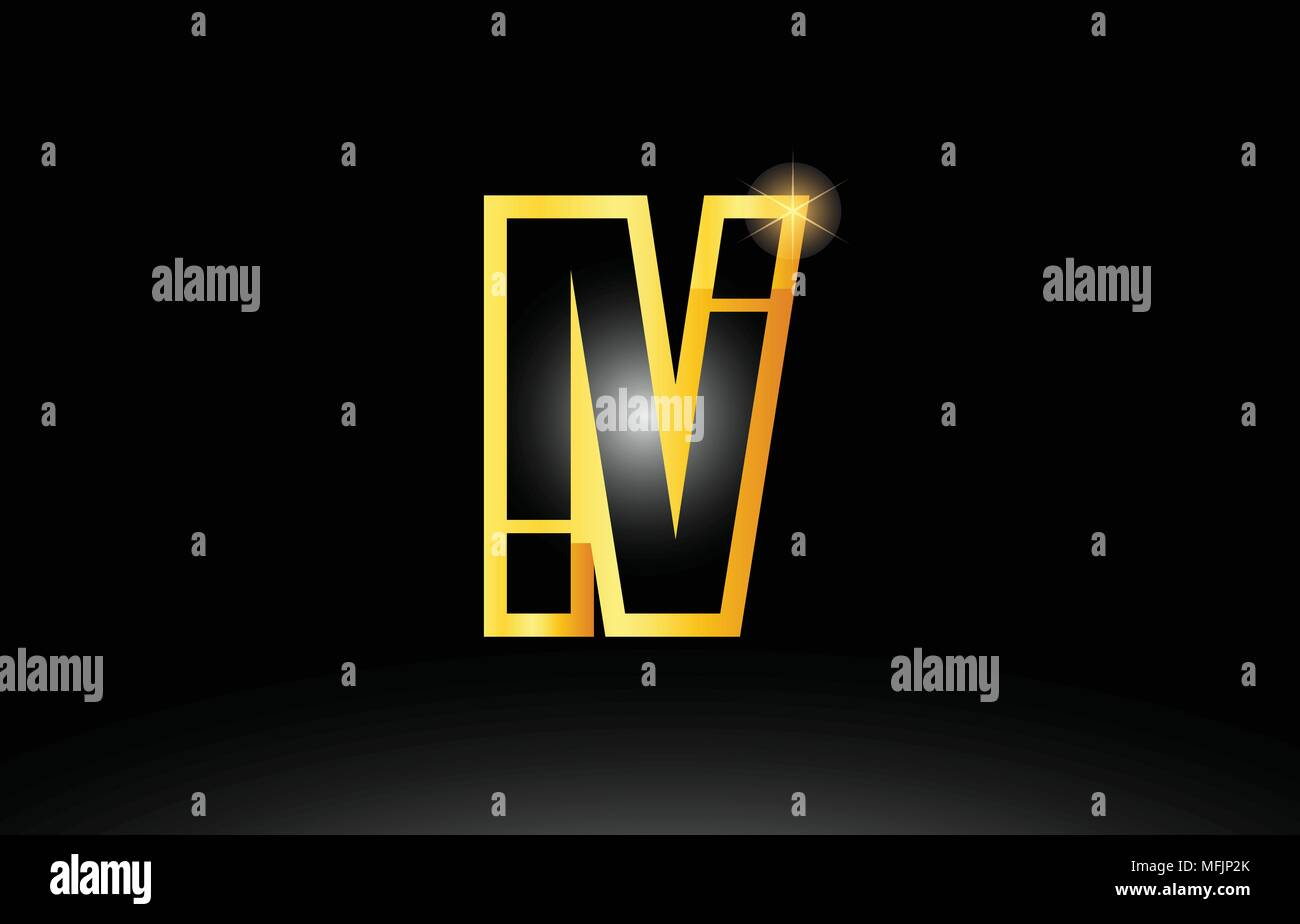 gold black alphabet letter iv i v logo combination design suitable for a company or business - Stock Vector