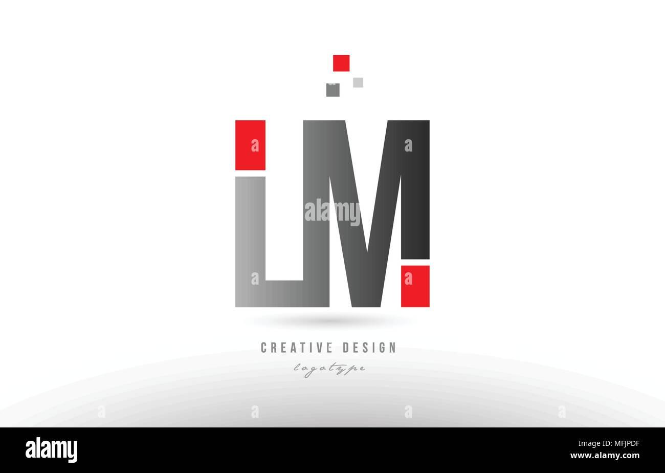 red grey alphabet letter lm l m logo combination design
